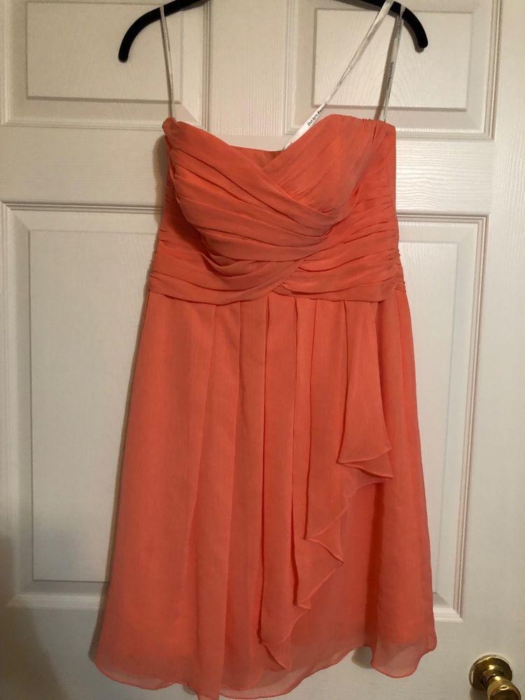 c947483b7c3 Davids Bridal Coral Short Crinkle Chiffon Dress Front Cascade Prom F14847   fashion  clothing