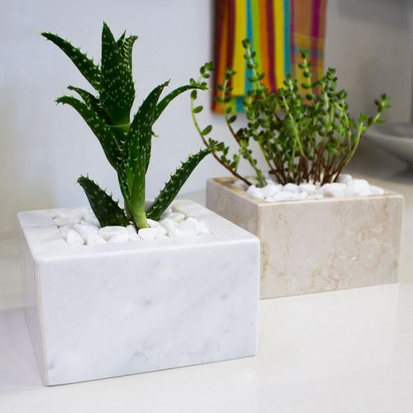 Marble Planter Pot Square Marble Square Marble Accessories Stone Decor
