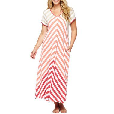 Liz Claiborne Striped Maxi Nightgown - Plus - jcpenney  $32