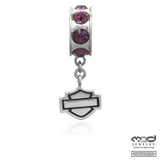 Harley-Davidson® MOD® Purple Crystal & Dangle Bar and Shield Spacer Ride Bead HDD0015