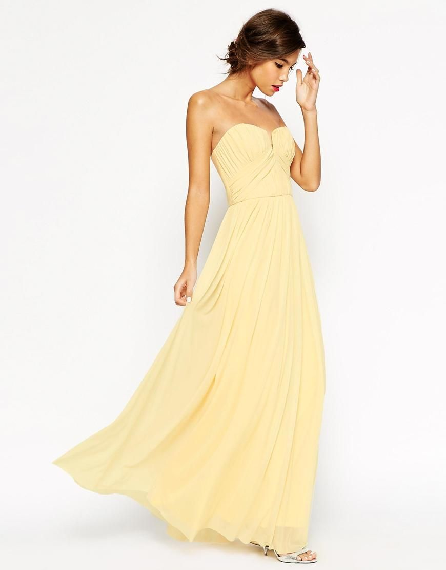 ASOS WEDDING Ruched Bodice Bandeau Maxi Dress at asos.com