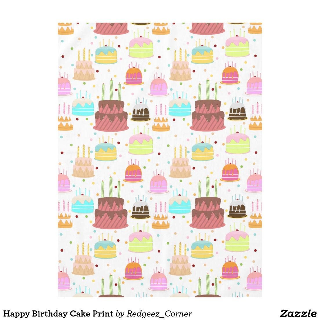 Happy Birthday Cake Print Tablecloth | Happy birthday ...