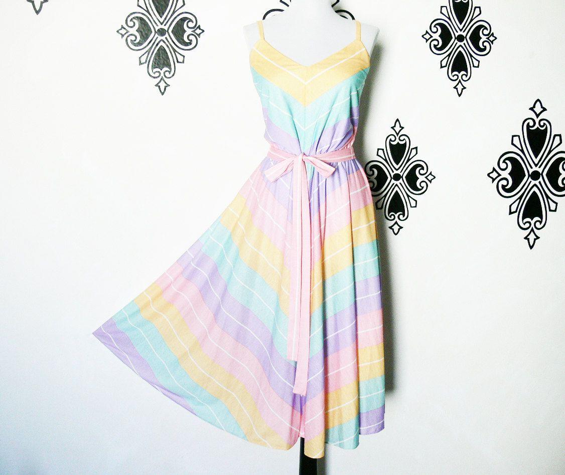 f7a656b61890 Vintage 80s Rainbow Chevron Striped Dress M L Sundress Belted Swing Skirt  Pastel by PopFizzVintage on Etsy