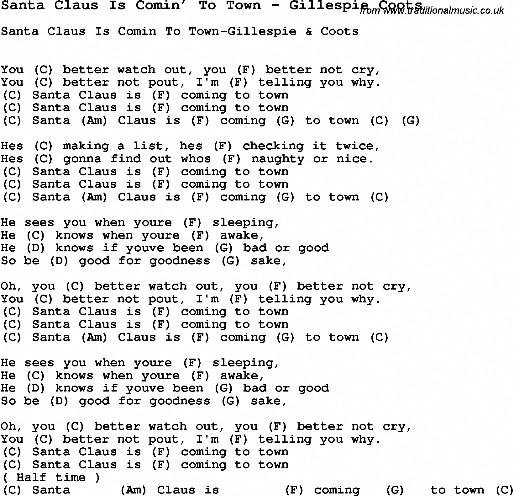 Song Santa Claus Is Comin To Town By Gillespie Coots With Lyrics For Vocal Performan Ukulele Chords Songs Ukulele Fingerpicking Songs Guitar Chords For Songs