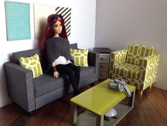 Charcoal Doll Sofa Dollhouse Furniture 1 6 1 6 Scale Playscale 10 Quot 12 Quot Dolls Dollhouse Furniture Doll House Barbie Furniture