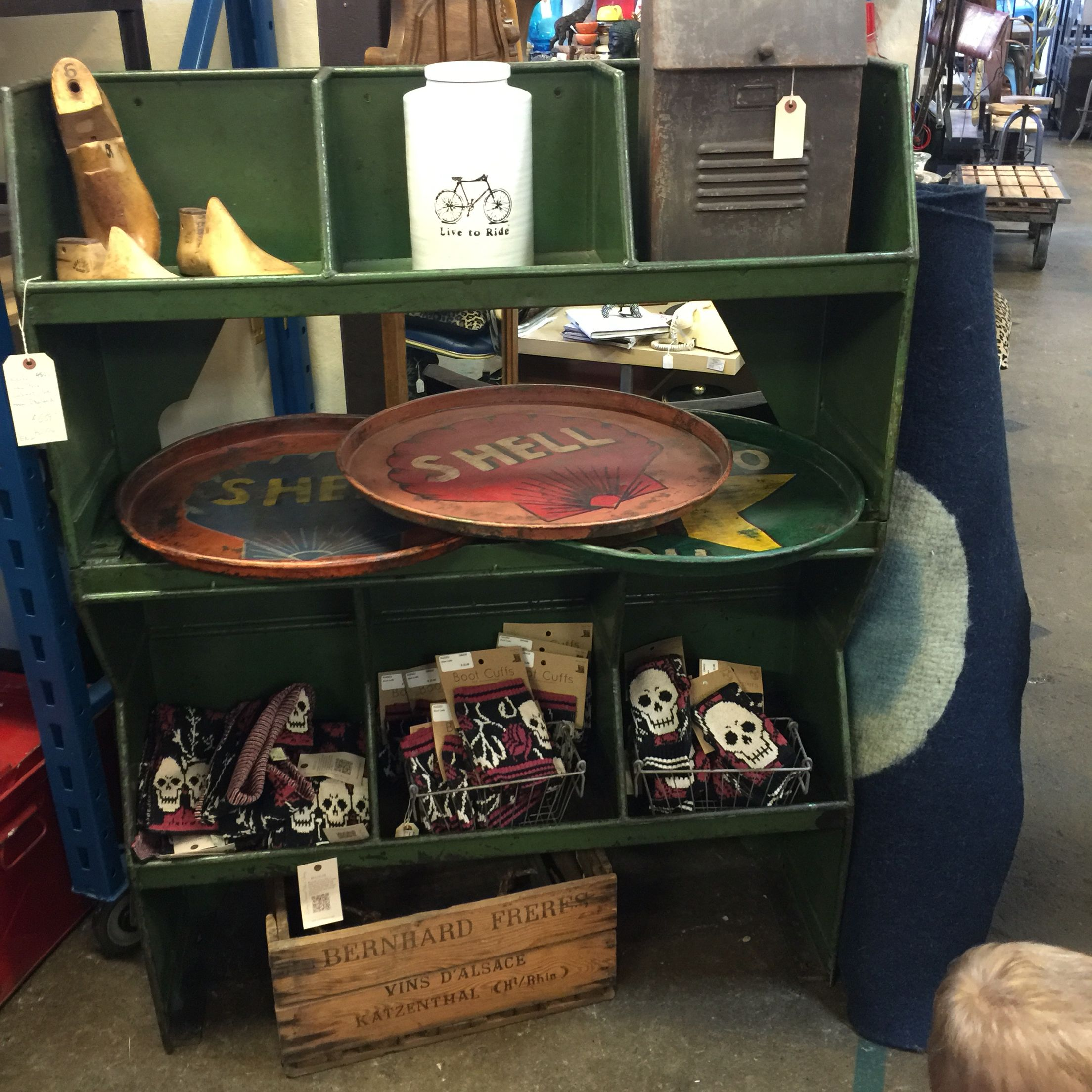 Metal industrial shelf. Perfect for a playroom or a mud room