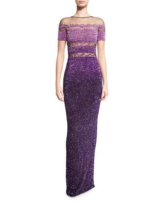 Signature+Sequined+Short-Sleeve+Gown,+Purple+by+Pamella+Roland+at+Neiman+Marcus.