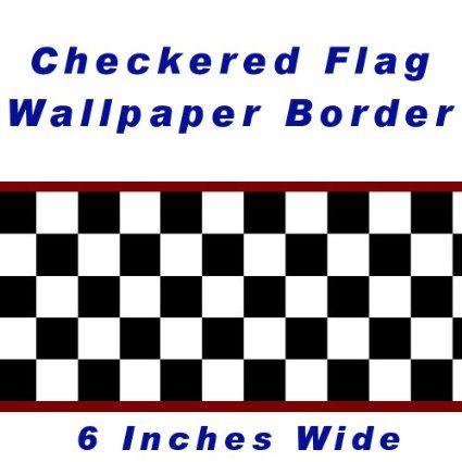 Checkered Flag Cars Nascar Wallpaper Border 6 Inch Red Edge Wallpaper Border Checker Wallpaper Childrens Wall Decor