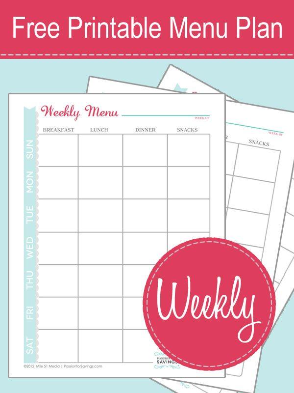 Free Printable Menu Plan Worksheet Passion For Savings Free Printable Menu Menu Planning Printable Menu Planning