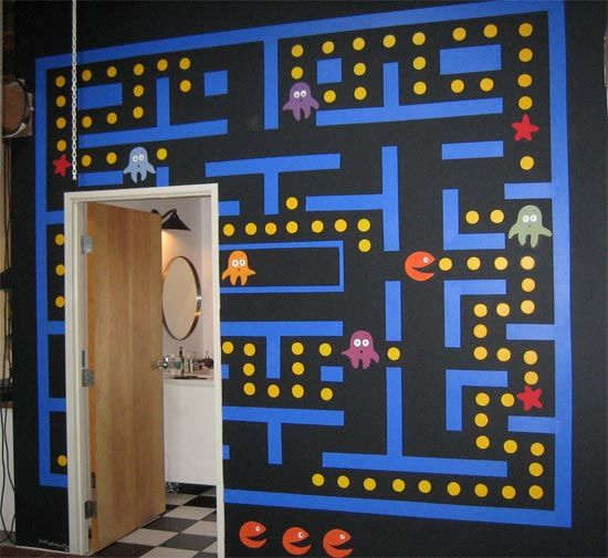 Geek Art Pacman Mural Gaming Decor Hallway Decorating Pacman