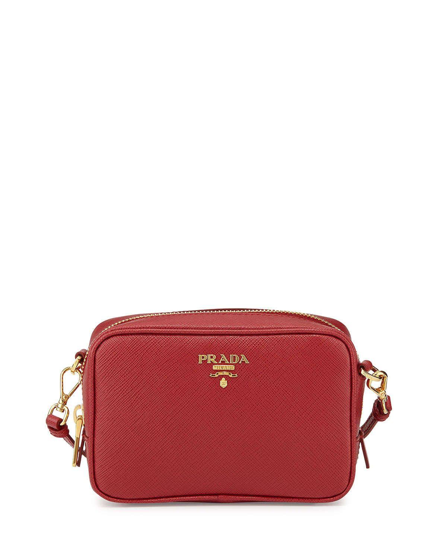 Cross Body Bags - Saffiano Lux Crossbody Bag Calf Leather Fuoco - red - Cross Body Bags for ladies Prada RNGx0uNaIk