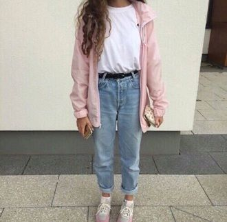 jacket pink tumblr coat girl cute pink jacket jeans pants blue blue jeans  baby blue pastel blue tumblr outfit girly belt old 80s style 90s style ol…