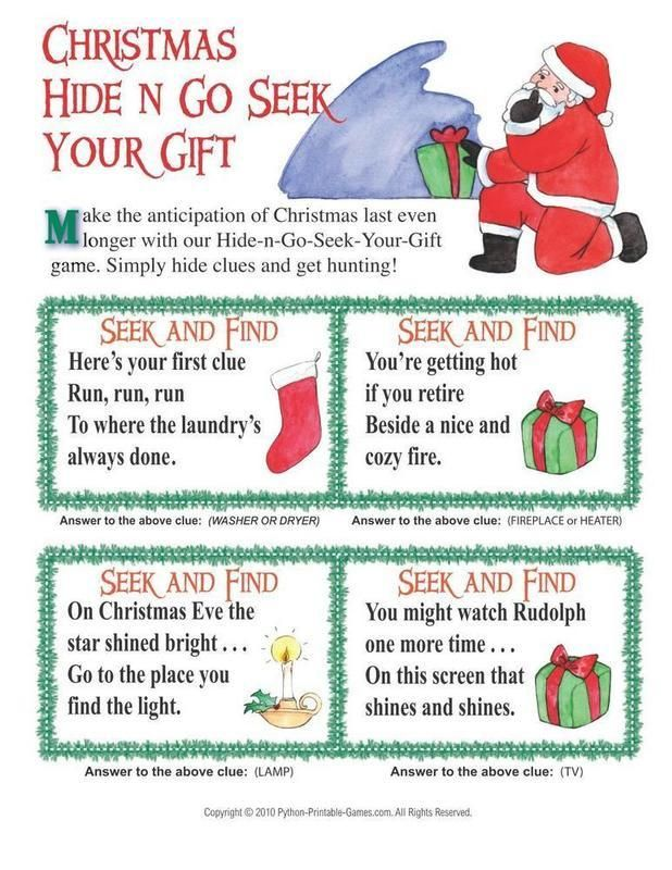 christmas scavenger hunt HIDE AND GO SEEK YOUR GIFT. how fun would that be  to not have presents under the tree when your kids wake up christmas  morning and ...