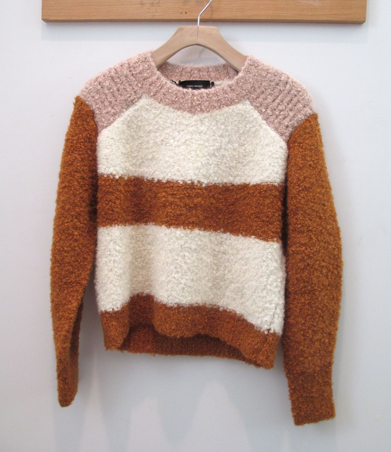 Sweater pullover | Texture and stripe | Brown pink white | Isabel ...