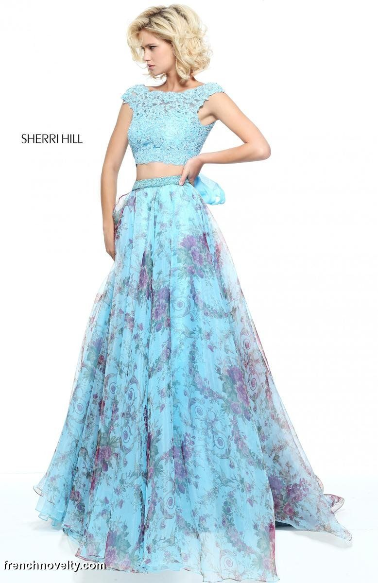 Sherri Hill 51176 is a 2-piece prom dress with a cap sleeved lace ...