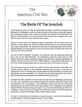 Civil War - The Battle Of The Ironclads Content Sheet ...