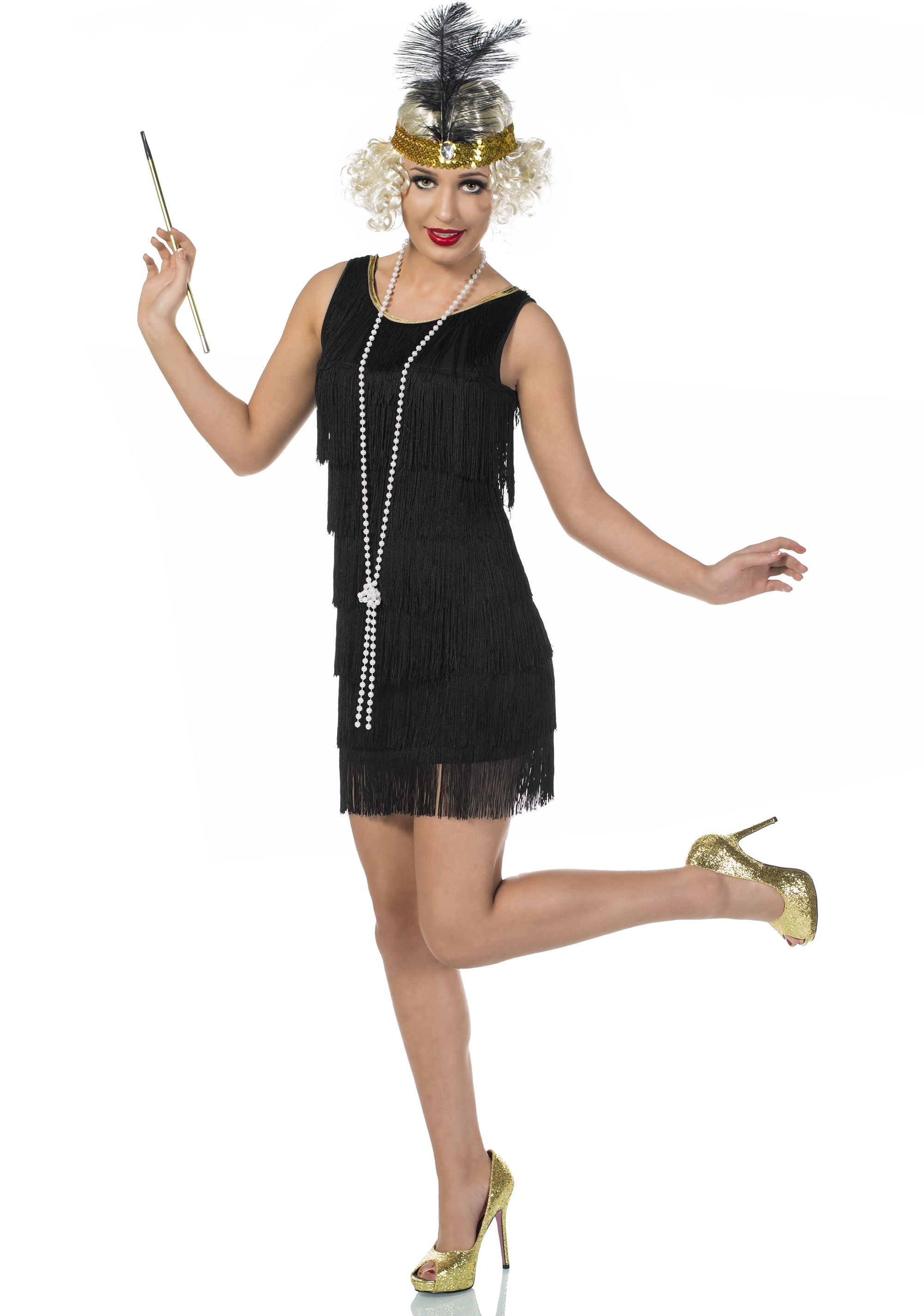 272ab5d01e6 20's Swanky Deluxe Black Flapper Dress Costume | Fabulous Flappers ...