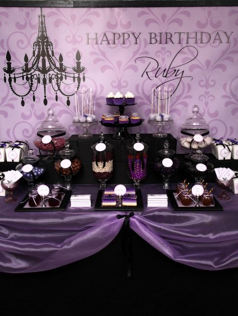 Purple black 39 sophisticated tween 39 birthday party for 13th birthday decoration ideas
