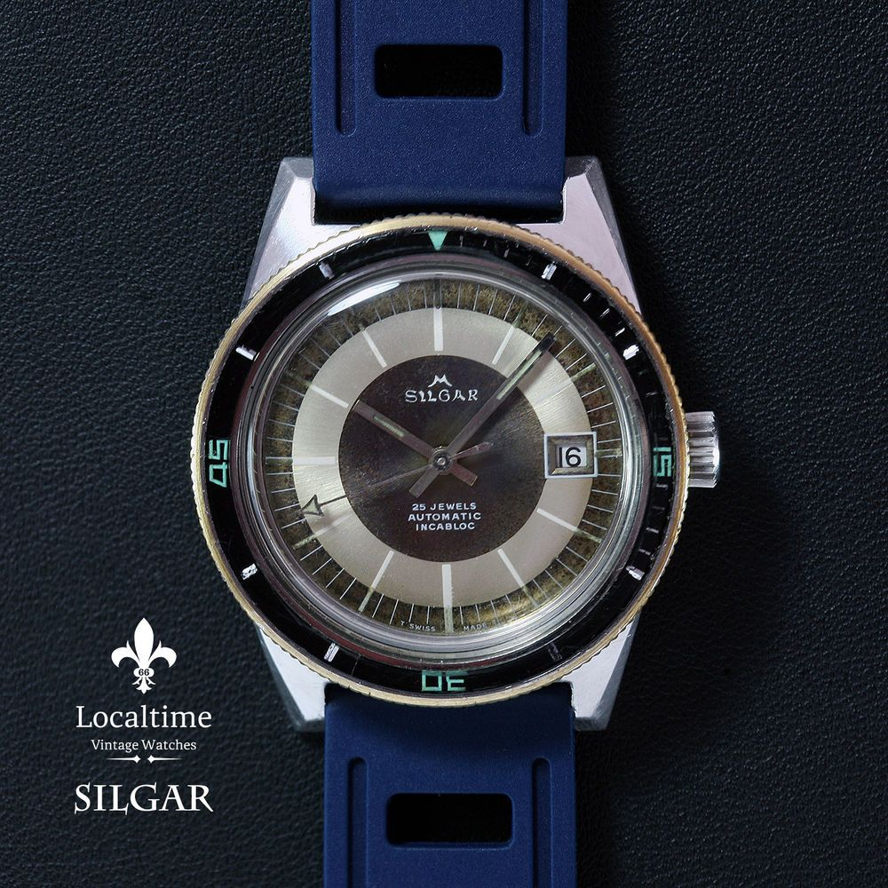 2ed21c72fdd 1960 s SILGAR  Watex Watch Co. SA  20ATU Steel Diver 25j ETA Cal ...