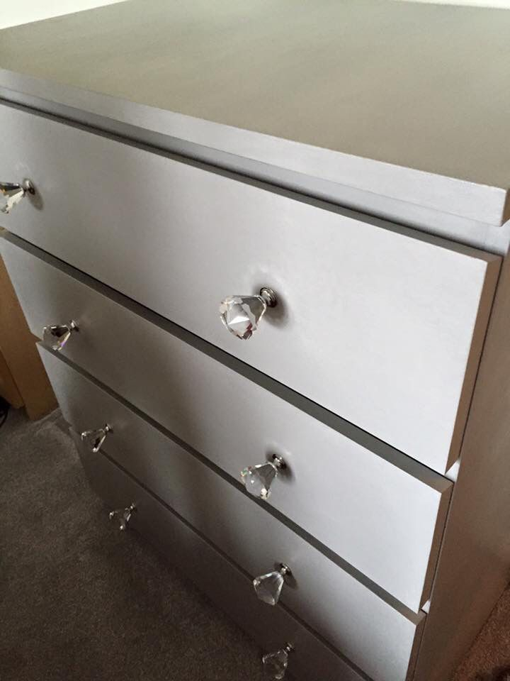 Ikea Malm Dresser Painted In Annie Sloan Paris Grey With Crystal Drawer S Ikeahack Anniesloan