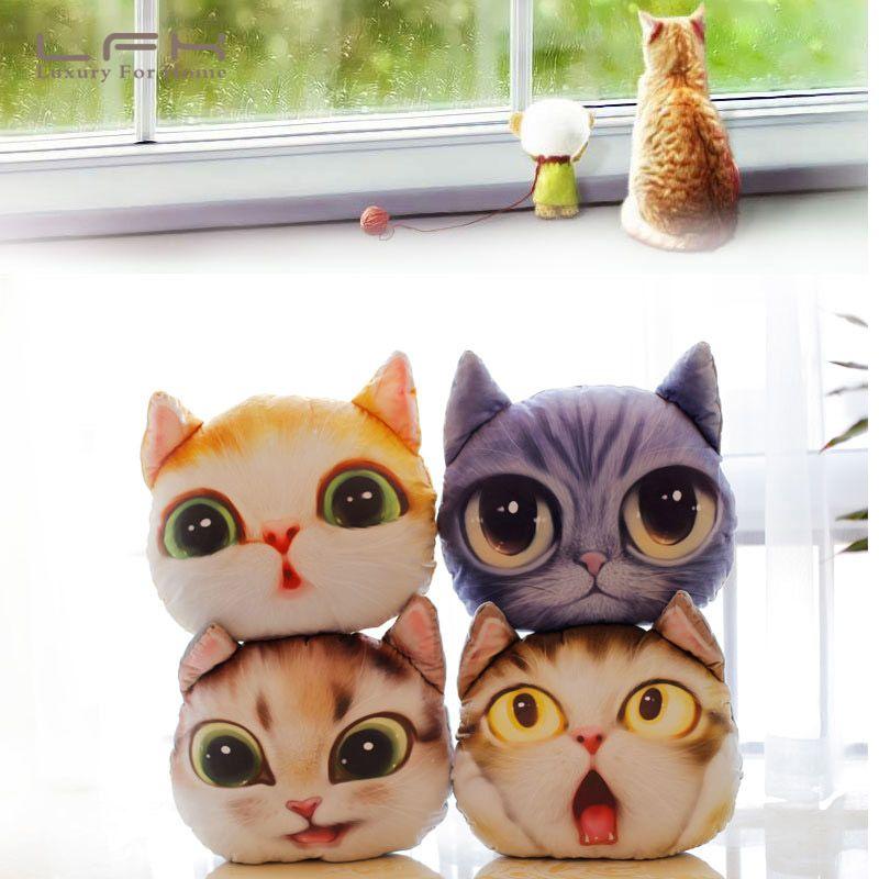 3D Cat Pillow Sofa Bolster Toy Car Cushion Home Decoration Cute Plush Gift