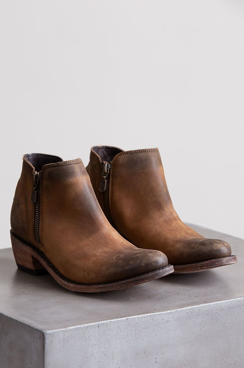 leather boots, Short cowgirl boots
