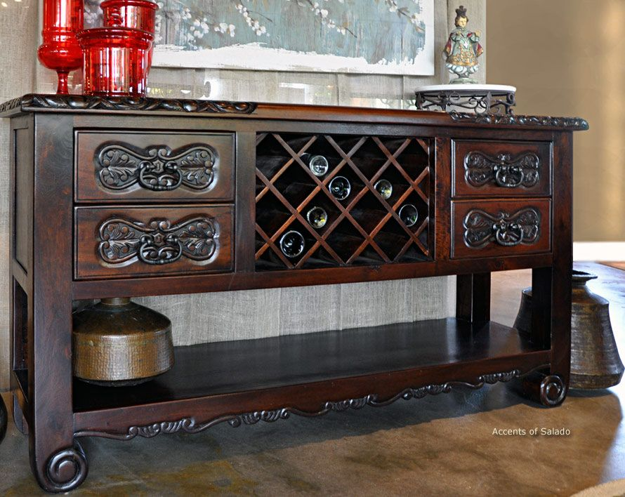 This Solid Wood Handcarved Wine Buffet Does Triple Duty In The Tuscan Decor Dining Room