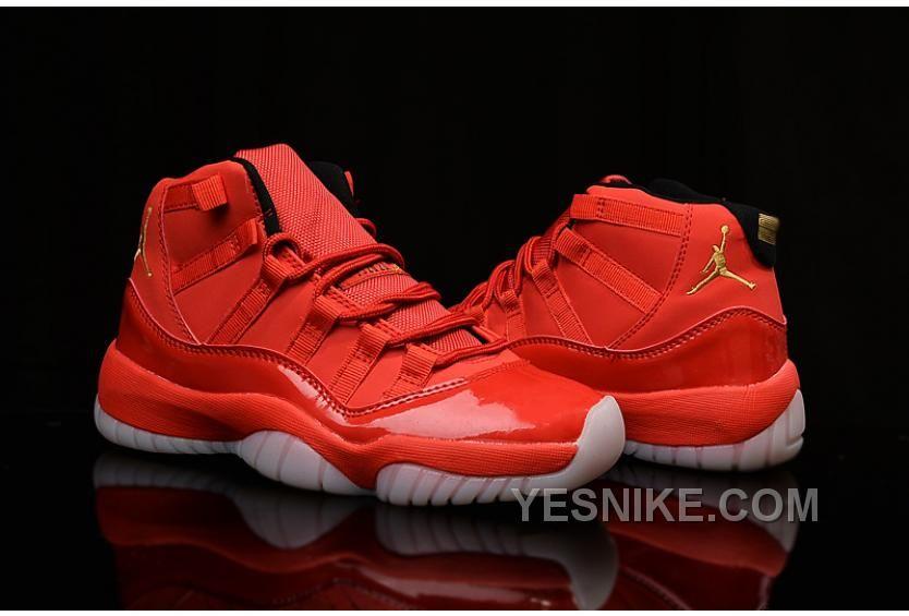 2015 Real Air Jordan 11 Shoes Hot Red Yellow Logo