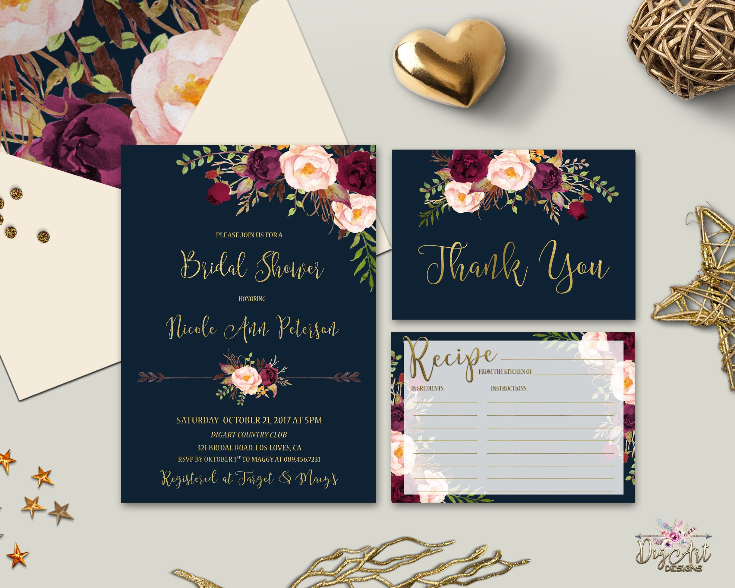 Navy Burgundy Gold Bridal Shower Invitation Printable
