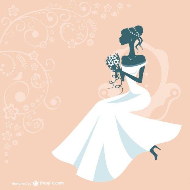 Silueta de mujer con vestido de novia Vector Gratis   scrap ...