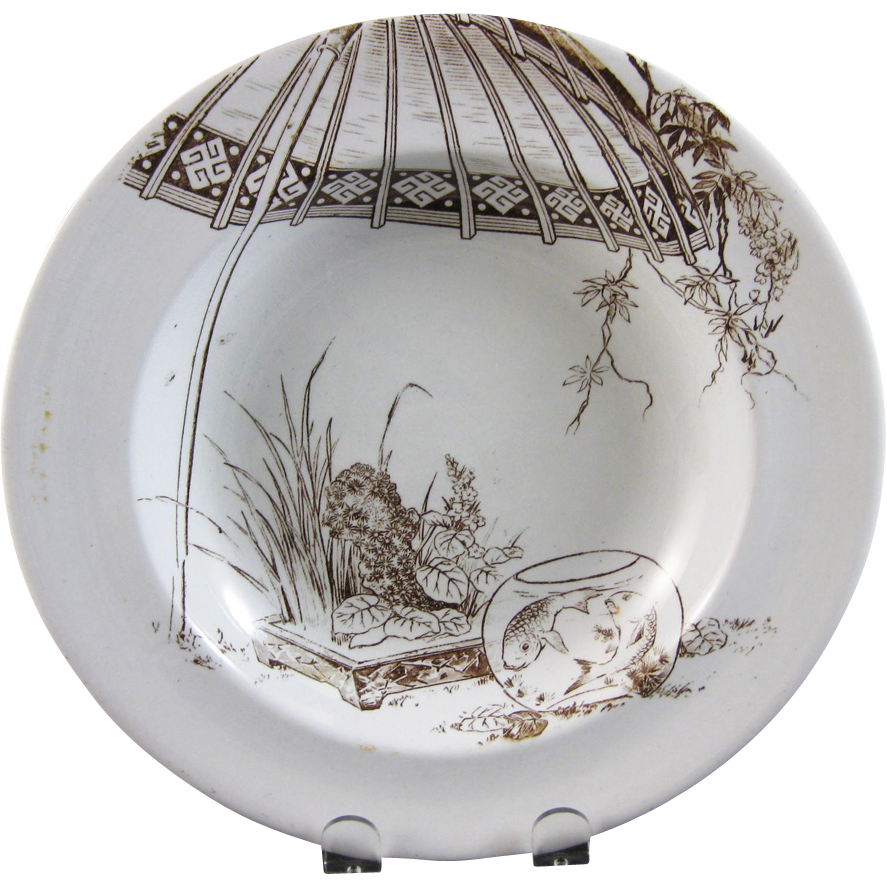 brownfield transferware | Victorian Brown Transferware Soup Plate - Fish 1880s from .  sc 1 st  Pinterest & brownfield transferware | Victorian Brown Transferware Soup Plate ...