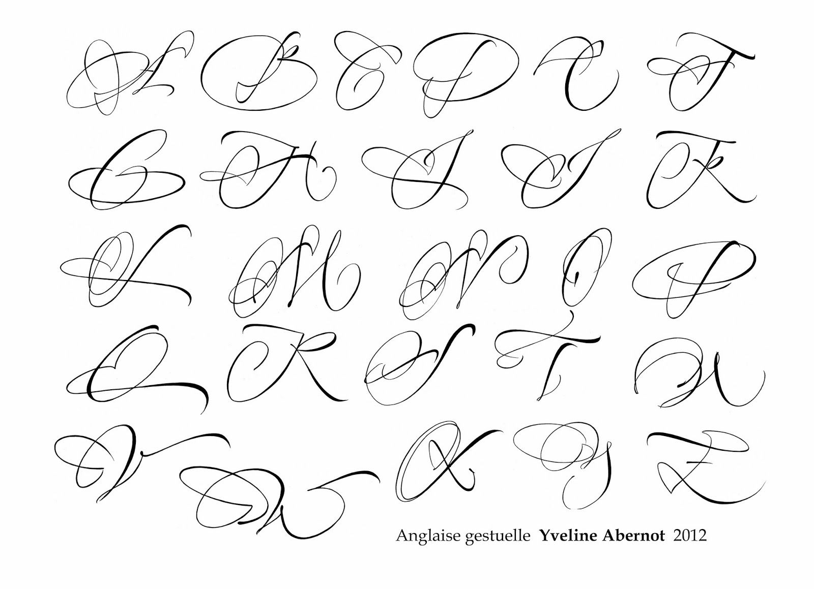 Yveline Abernot Anglaise Calligraphie Lettering Calligraphie