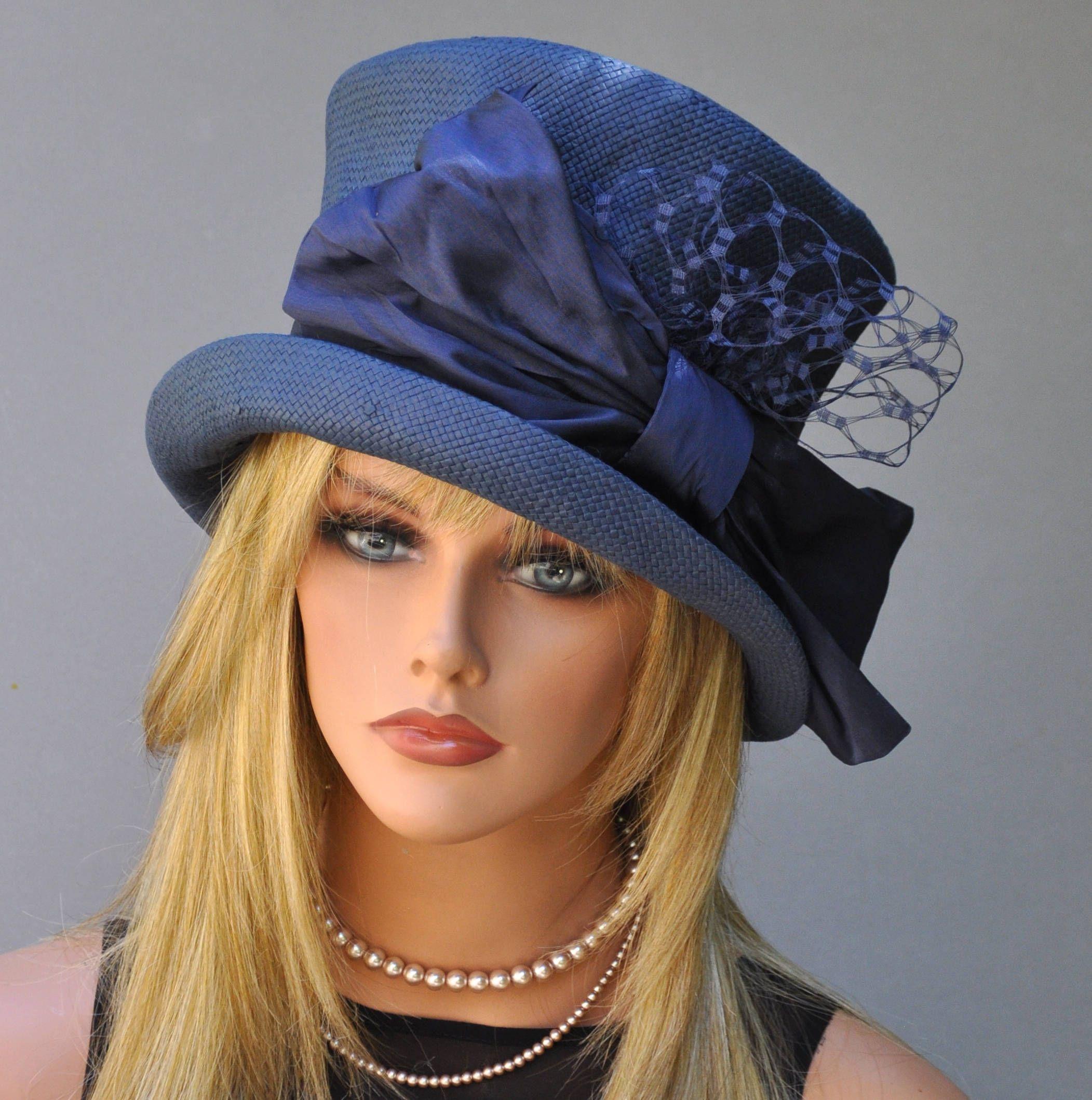 49c725bad Formal Hat, Women's Navy Hat, Church Hat, Wedding Hat, Derby Hat ...