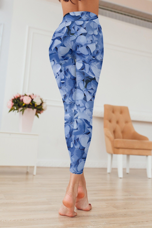 da8ed99161e Blue Hydrangea Fancy Floral Print Leggings