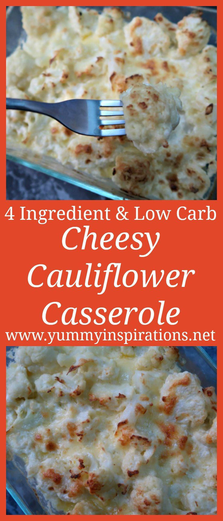 4 Ingredient Cheesy Low Carb Cauliflower Casserole images