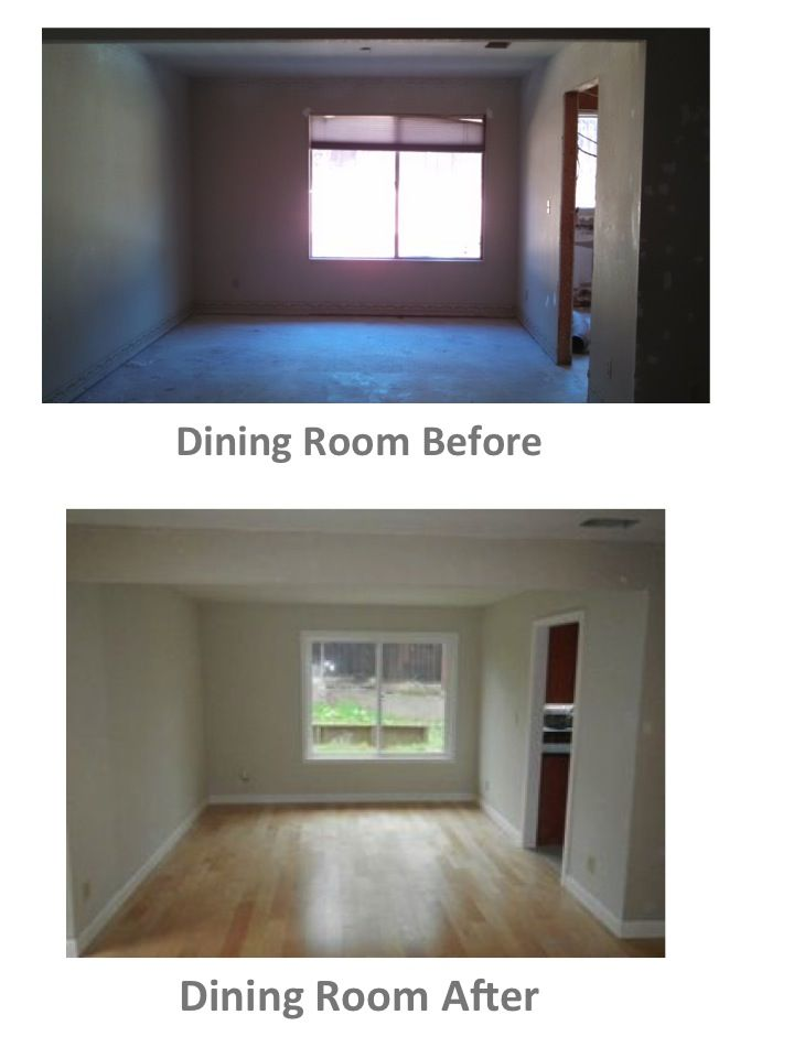 Before And After Dining Room U2013 Engineered Maple Floor, New Windows With  U201ccolonialu201d Moulding, New Baseboards (painted Kelly Moore Acoustic White),  Kelly ...