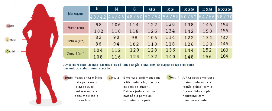 701b297f3 tabela de medidas femininas plus size - Pesquisa Google