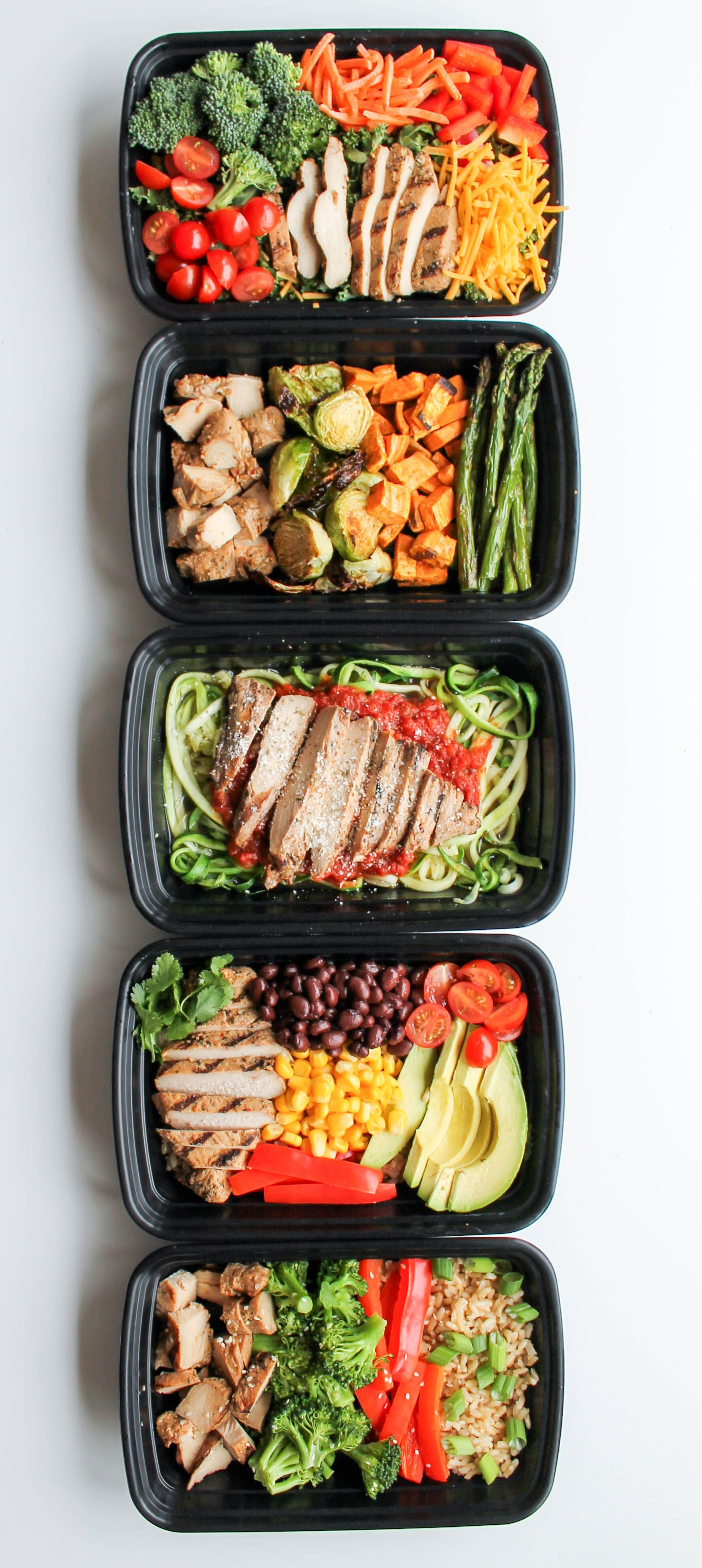 Chicken Meal Prep Bowls 5 Ways Recipe Easy Chicken Meals Chicken Meal P