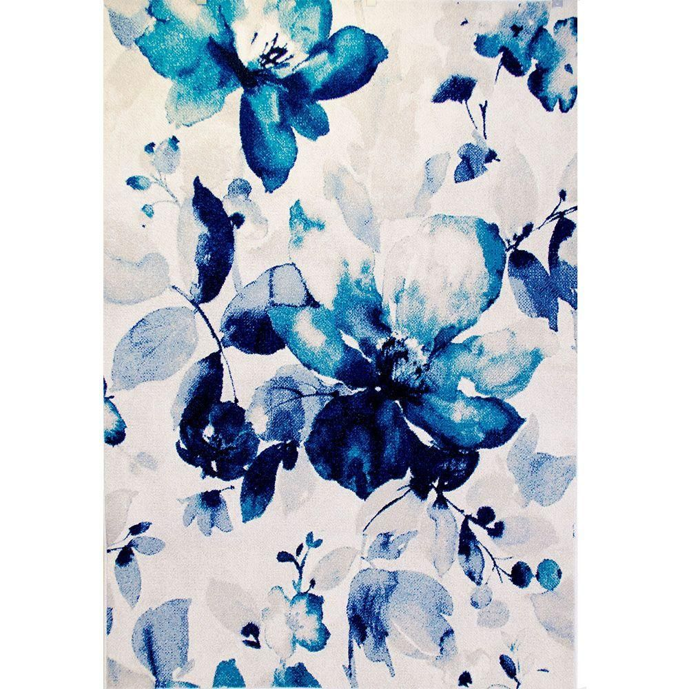 Home Dynamix Bazaar Watercolor Floral Blue 7 Ft 10 In X 10 Ft 1