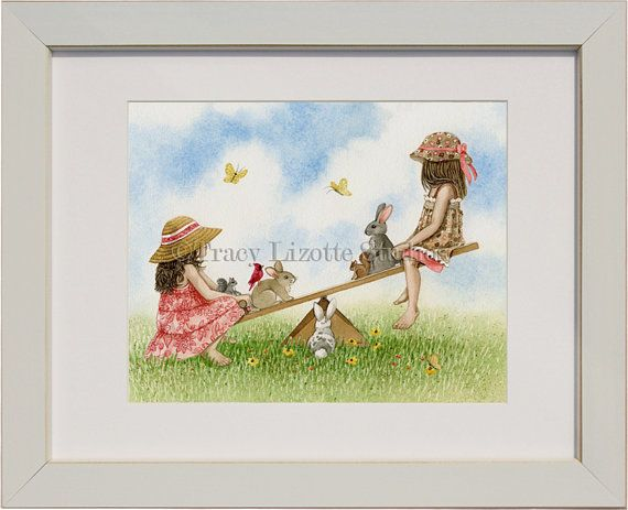 Playtime Seesaw  archival watercolor print by TracyLizotteStudios, $14.00
