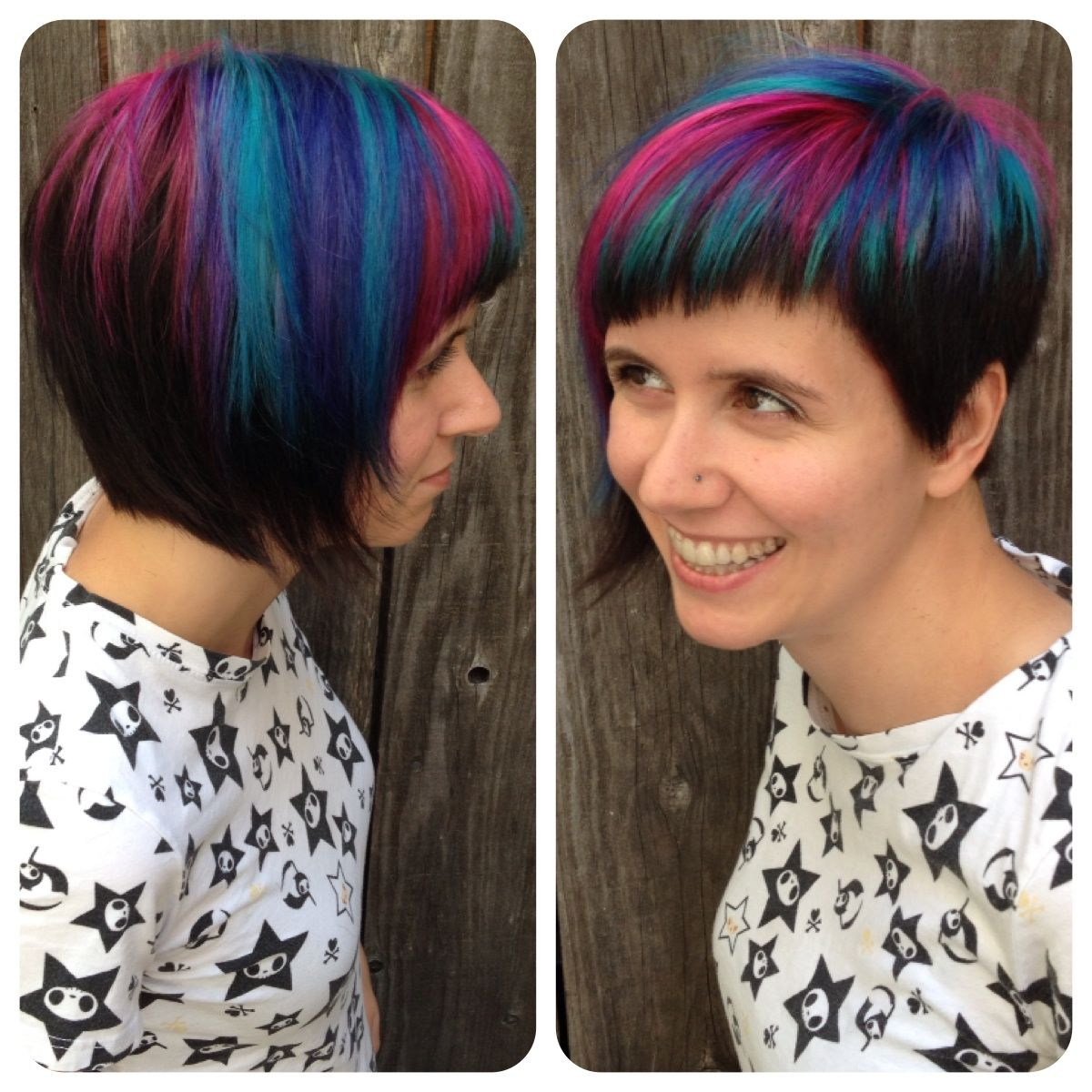 Asymmetrical bob and rainbow colors color u cut by katey mcmuffin