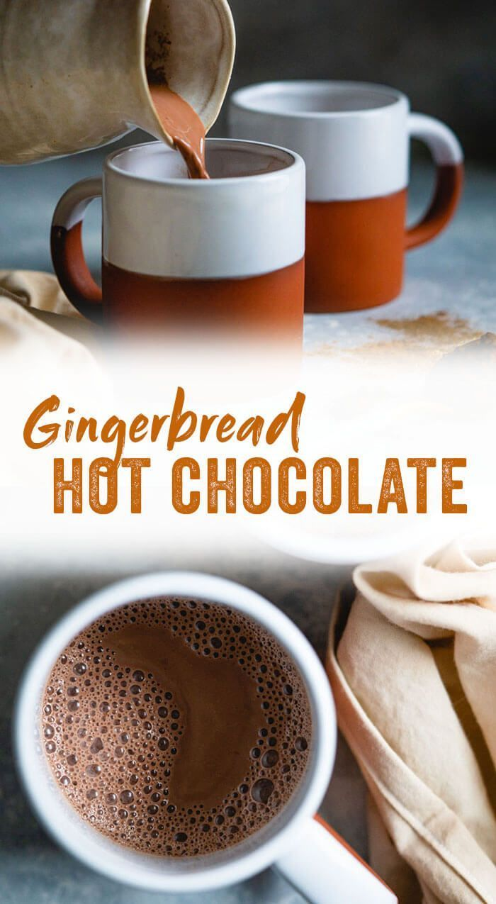 This homemade gingerbread hot chocolate is so much better than a store bought mix, and just as easy! It's cozy for Christmas or any frosty evening. #hotchocolate #cocoa #homemade #christmas #winter #recipe #healthy #winter Desserts Homemade Gingerbread Hot Chocolate #hotchocolaterecipe