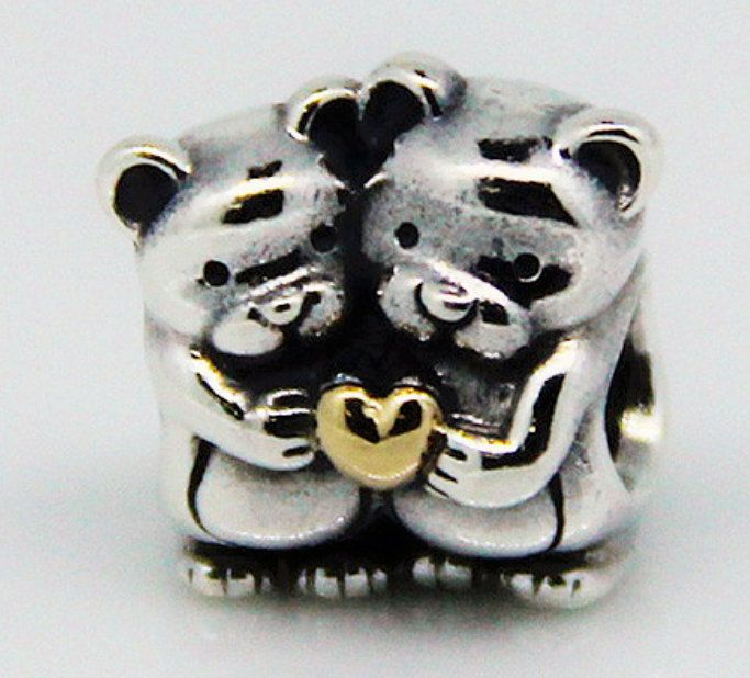 2 Teddy Bear with Heart Sterling Silver Fashion Charm Silver Gold Heart Diy Charms Fashion Bead For Beading by havegot2shopnow on Etsy