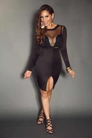 Black Long Sleeve Mesh Fishnet With Cutouts And Front Open Slit