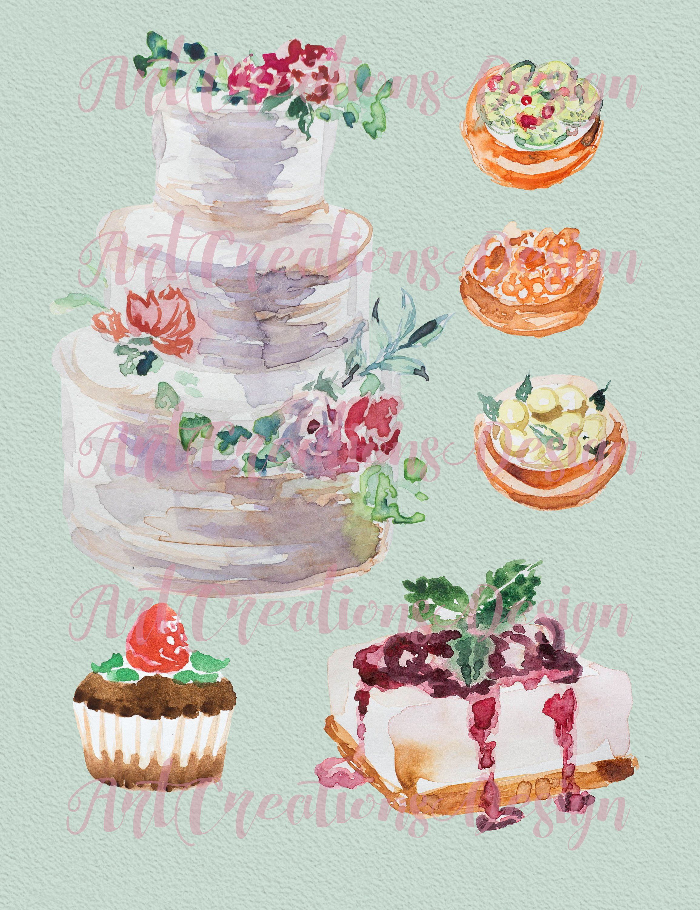 Watercolor Food And Drinks Bundle Stationary Wedding Quotes