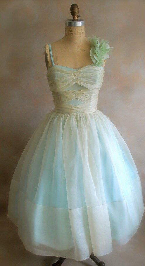 1950s Vintage Wedding Dress 50s Party Blue Dress Silk Organza Prom ...