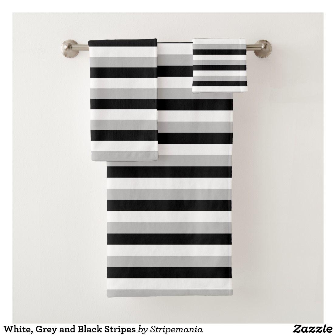 White Grey And Black Stripes Bath Towel Set Zazzle Com With