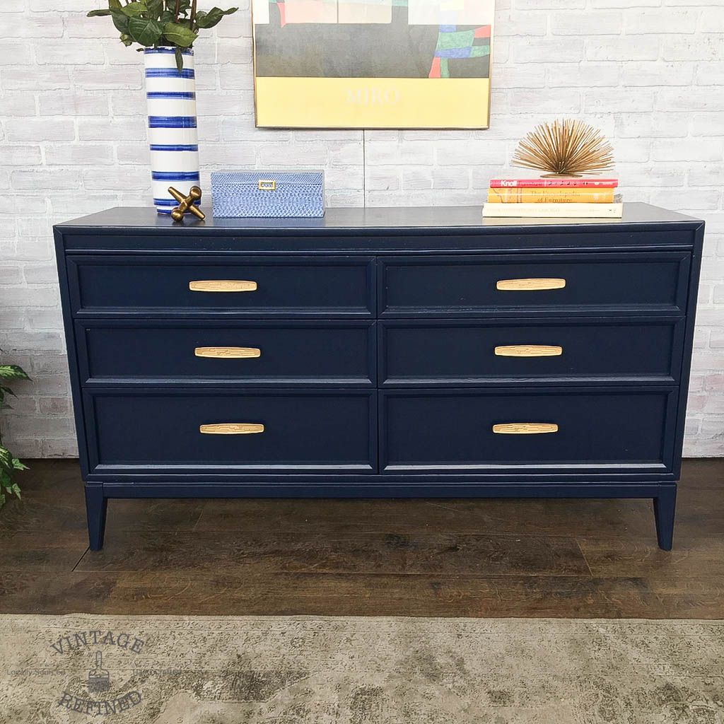 Navy Painted Mcm Dresser With Gold Hardware Blue Painted