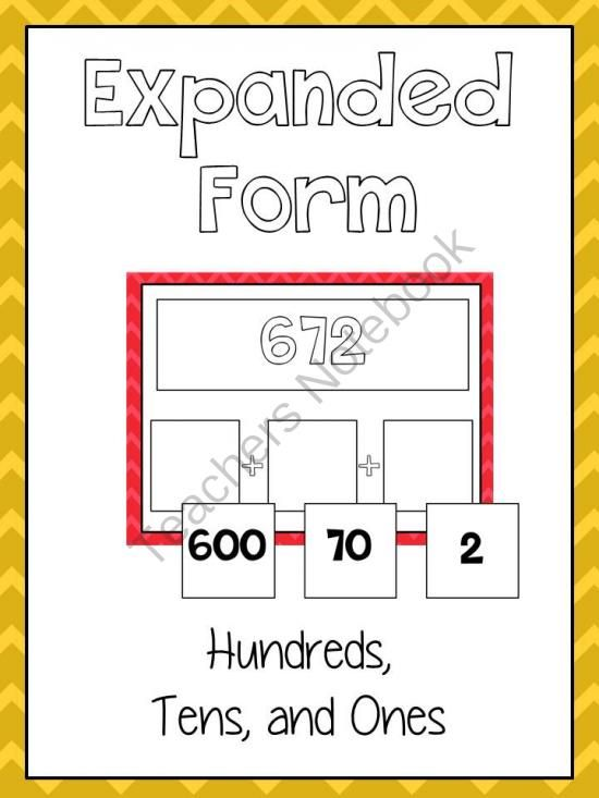 Expanded Form Math File Folder Game Place Value Hundreds Tens