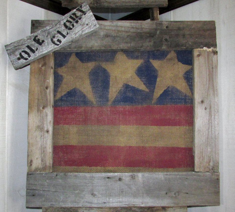 Hanging Flag On Wall https://www.facebook/mattiejosprimitives/primitive rustic barn
